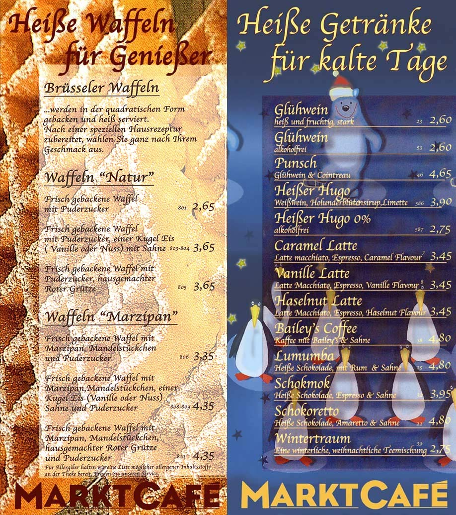 Waffeln und heiße Getränke - Marktcafé Münster Flammkueche